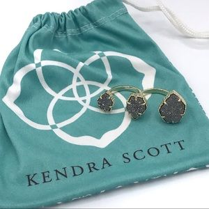 Kendra Scott Noami Drusy Double Ring Platinum